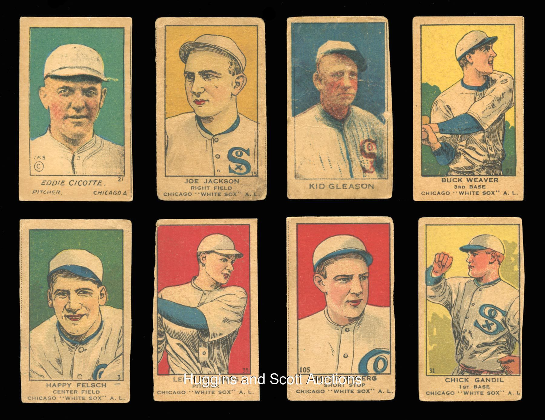 s chicago black sox strip cards lot including joe jackson