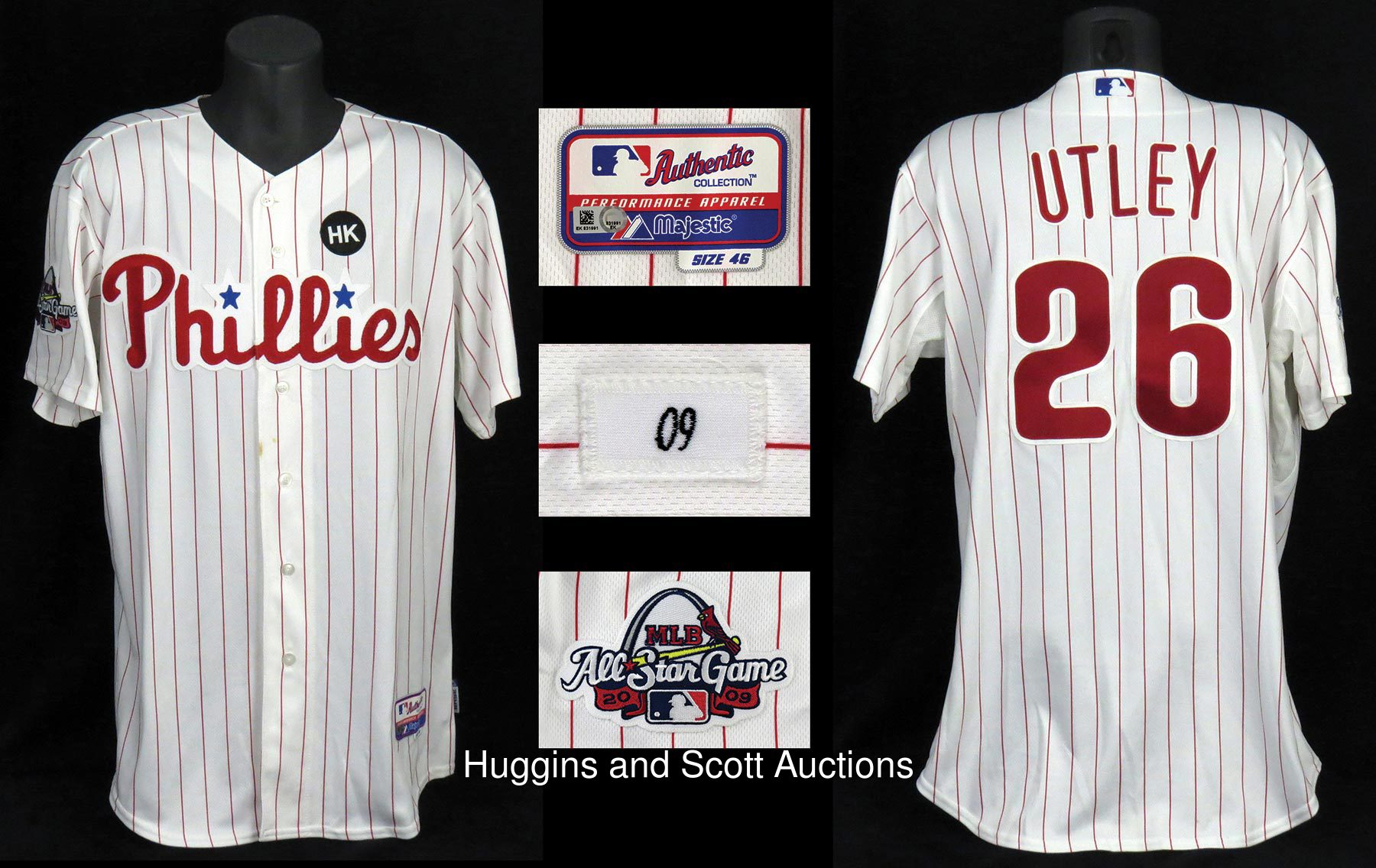 on sale 9d745 bec02 2009 Chase Utley Philadelphia Phillies Game Used/Team Issued ...
